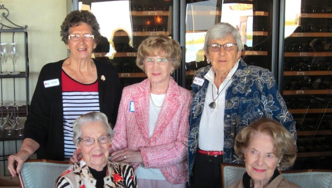Back, left to right: Jean Summers, Virginia Marcagi and Virginia Reed. Front, left to right: Claudia Curle, and Kay Ziegler. The Marco Island chapter of Daughters of the American Revolution has 59 members. Five of them in their 90s were honored at the March chapter meeting.