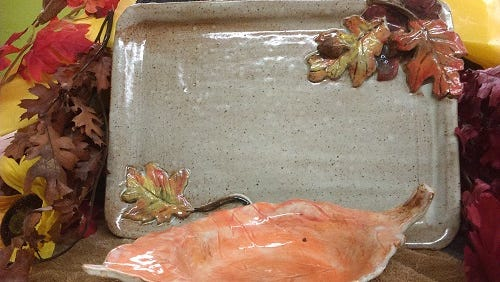 A handmade tray and bowl with a leaf motif can be made in time for Thanksgiving.