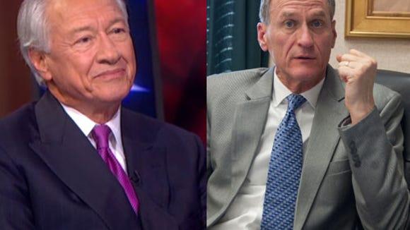Gov. Dennis Daugaard, right, with Colbert Report impersonator Tom Creel.