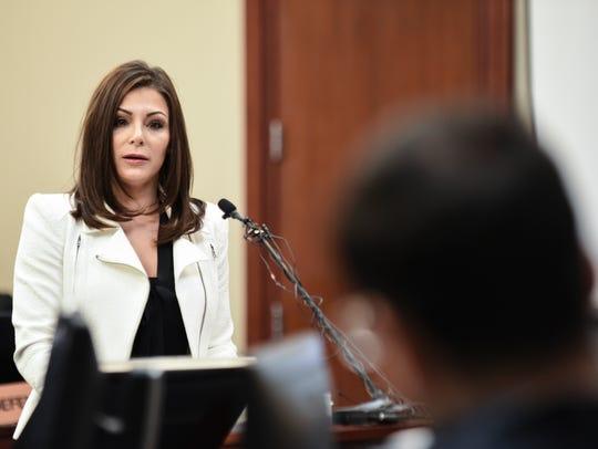 Former gymnast Jamie Dantzscher confronts Larry Nassar Thursday, Jan. 18, 2018, in Circuit Judge Rosemarie Aquilina's courtroom.