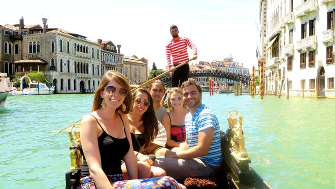 Students in FSU's Study Abroad program enjoy Gondola ride in Venice, Italy, during overnight trip from Florence study center.