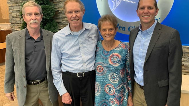 From left, Dr. Bill Clifford, Dr. Luther Fry, Ardis Fry, and Dr. Eric Fry, at Fry Eye Associates in Garden City.