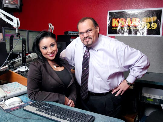 Disc Jockeys Barbi Leo and Dan Pena work at KSAB radio, which will play Selena music continuously for 30 hours during Fiesta de la Flor.