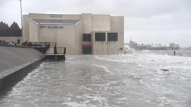 The storm surge from Hurricane Hanna on July, 25 at the Art Museum of South Texas in Corpus Christi, Texas.