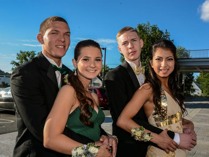 (L-R) Travis Gante of Butler, Lexi Malone, 17, of Bloomingdale, Kevin Osmak of Butler and Maria Pineda of Butler at the Butler High School Prom at Brownstone House in Paterson, June 6, 2014.  Photo by Warren Westura for the Daily Record.