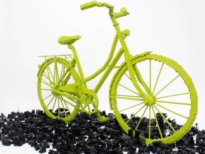 'Bicycle Trumps Traffic' by Sean Kenney, 2011. Built with 93,407 LEGO brick pieces. Part of the exhibit 'BUILD! Toy Brick Art at The Heard.'