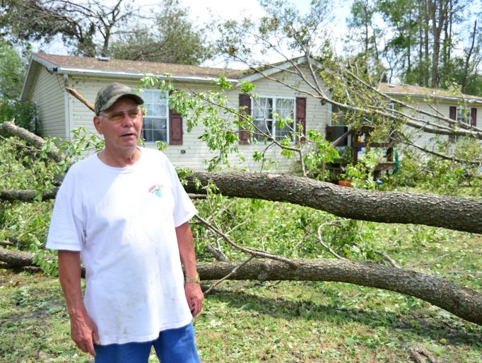 Al Mikkelson speaks about storm damage from an F1 tornado that touched down near Cherrystone Campground and traveled 8 miles on the ground across the town of Cheriton Va causing major damage and killing two campers. Wayne Barrall photo