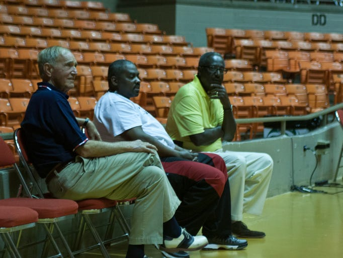Jackson Mayor Jerry Gist, City Councilman Johnny Dodd and Director of Jackson Recreation Parks Tony Black waiting for the start of the Summer Youth Olympics.