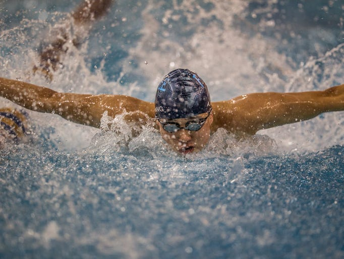 Arthur Wang of Charter School of Wilmington swims the Butterfly leg of the 200 yard Individual Medley.