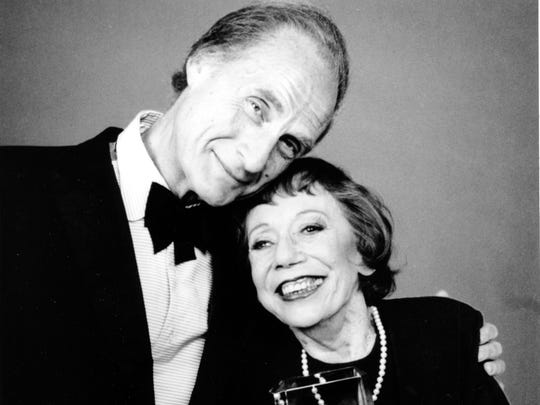 FILE - This May 18, 1988 file photo shows Imogene Coca, right, and Sid Caesar after Coca won the female Life Achievement in Comedy award at the American Comedy Awards in Los Angeles. Caesar, whose sketches lit up 1950s television with zany humor, died Wednesday, Feb. 12, 2014. He was 91.  (AP Photo, File)