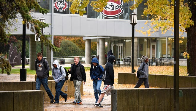 Students move around campus between classes Friday at St. Cloud State University.
