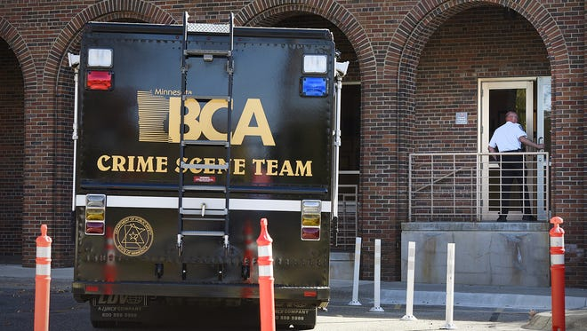 The BCA mobile command center sits outside  St. Cloud Hospital afer an early morning incident Oct. 18 where a sheriff's deputy was shot.