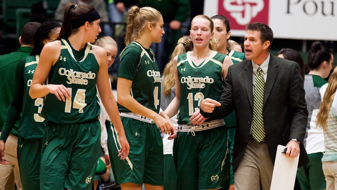 Colorado State Head Coach Ryun Williams gets after his team during a timeout Wednesday evening at Moby Arena as the Rams battled CU Boulder in a close-fought game. The Rams  prevailed 64-63.