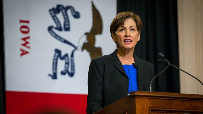 Iowa Gov. Kim Reynolds gives her inaugural address Wednesday, May 24, 2017, at the Iowa Statehouse in Des Moines.