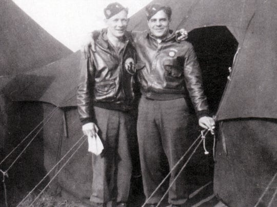 Richard LaRiviere, left, and James Megellas, both lieutenants at the time, are shown in Leicester, England, during World War II. Magellas later won a Silver Star for his actions.