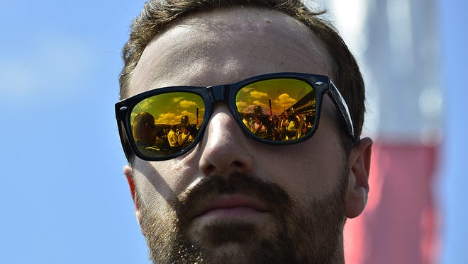 IndyCar driver James Hinchcliffe (5) before the start of the 100th running of the Indianapolis 500 Sunday, May 29, 2016, afternoon at the Indianapolis Motor Speedway.