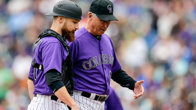 If they make the play-in game, Rockies manager Bud Black, right, has a tough decision on who to start.