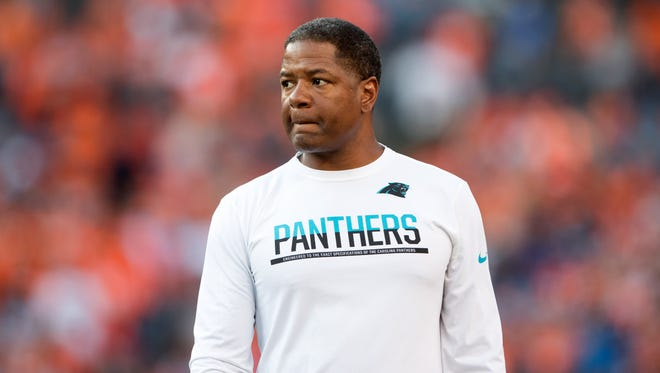 Carolina Panthers defensive coordinator Steve Wilks interviewed for the Titans' head coaching vacancy Thursday