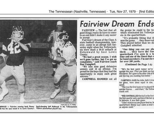 Newspaper clipping reporting Fairview's 1979 Yellow