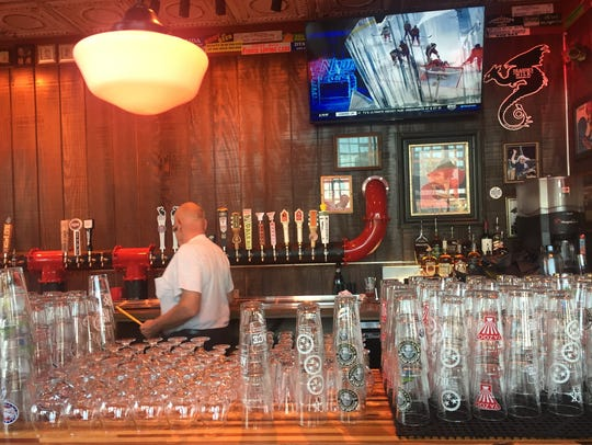 A view of the bar at M.L. Rose Craft Beer & Burgers