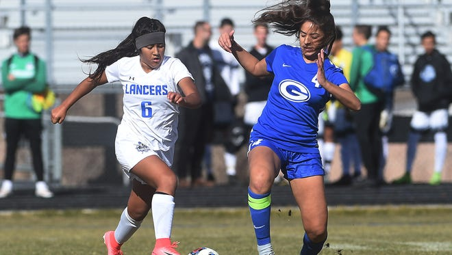 McQueen takes on Bishop Gorman during the NIAA Girl's Soccer State Championship game at North Valleys High School in Reno on Nov. 11, 2017.