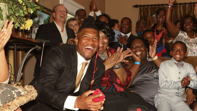 Jameis Winston of Florida State is selected as the number 1 pick of the Tampa Bay Buccaneers  in the 2015 NFL draft.