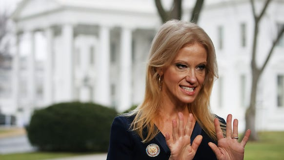 Look out! Kellyanne Conway, prepares to appear on the