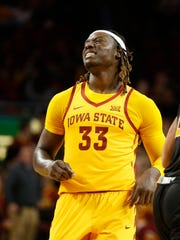 Iowa State forward Solomon Young (33) reacts after missing the basket Monday, Nov. 13, 2017, during their game at Hilton Coliseum in Ames.