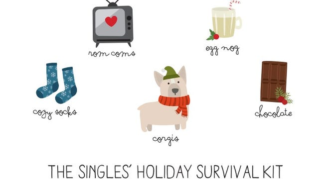 """Christina Nguyen, who runs the Etsy Shop Le Trango, said she took a """"light-hearted approach"""" to creatingthe """"Singles Holiday Survival Kit"""" card."""