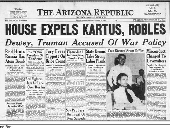 Oct. 2, 1948, edition of The Arizona Republic announcing