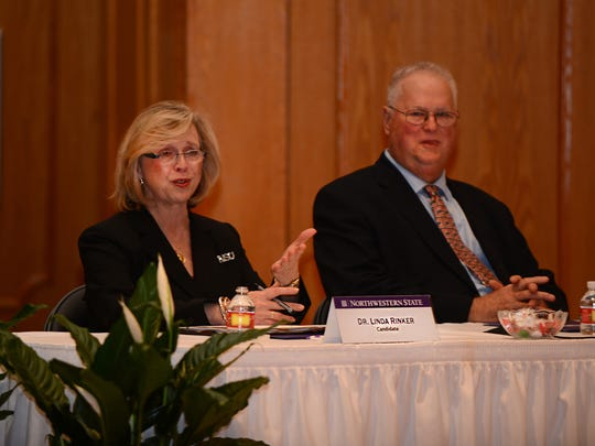 Linda Rinker, provost and executive vice president for academic affairs at Davenport University in Michigan, meets with the Northwestern State University Presidential Search Committee in Natchitoches on Thursday. Rinker is one of four semifinalists for the position of NSU president.
