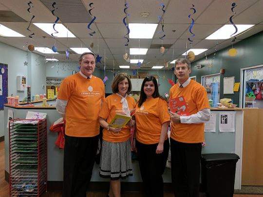 Provident Bank team members participated in Read Across America Day. Pictured left to right are Don Blum, executive vice president and chief lending officer, Provident Bank; Jane Kurek, executive director, Provident Bank Foundation; Miriam Duro, banking center manager, Bayonne branch, Provident Bank, and Ken Lenskold, investment compliance manager, Beacon Trust Company.