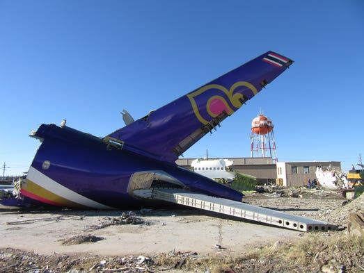 The remains of a Thai Airways Airbus A300 are seen