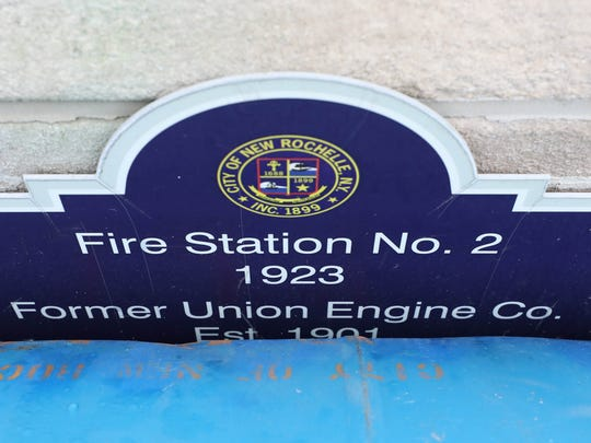 The 1923 marker is pictured at Fire Station 2 on Webster Avenue in New Rochelle, Feb. 20, 2018.
