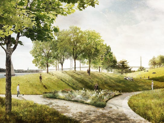 A flat, empty 22-acre parcel on Detroit's west riverfront