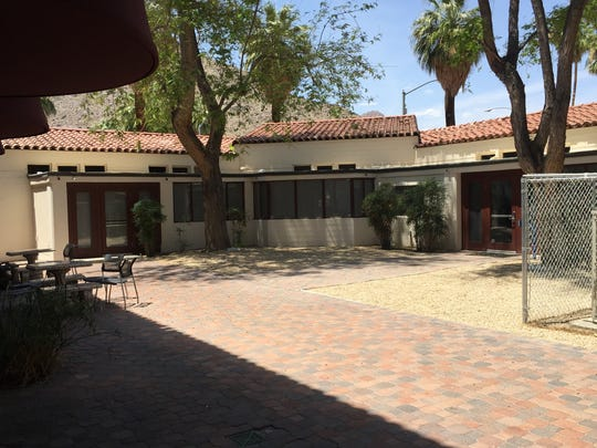 A view of the Welwood Murray Memorial Library courtyard, which is adjacent to the Plaza las Flores building in downtown Palm Springs.