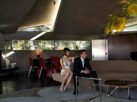 A Bloomingdale's shoot at Lautner/Elrod House on Southridge in Palm Springs.