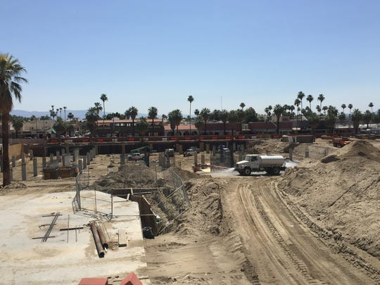 A view of the Palm Springs downtown redevelopment looking east. The 14-acre site will be a hive of underground parking, retail, hotel, residential and commercial uses.