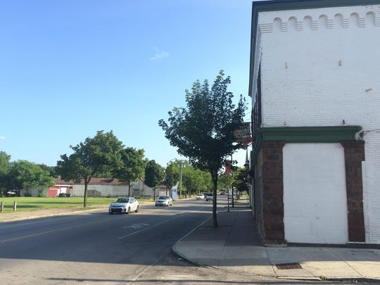 The current view of Joseph Avenue looking south from O'Brien Street. The Sniderman's Hardware sign is behind the tree.