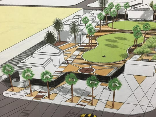 An architect's sketch of the Downtown Palm Springs Park, looking east.