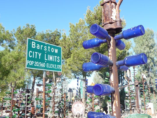 Long's Bottle Tree Ranch on Route 66 west of Barstow has hundreds of imaginative scrap metal bottle trees made from recyclable discoveries, from typewriters to saxophones.