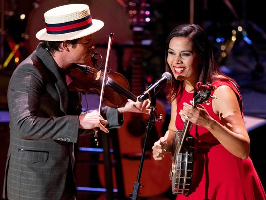 Ketch Secor and Rhiannon Giddens perform during the Country Music: A Concert Celebrating the film by Ken Burns concert at the Ryman Auditorium in Nashville, Tenn., Wednesday, March 27, 2019.