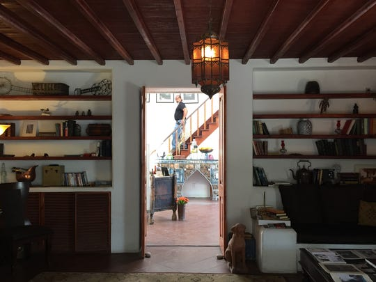 The view through the lobby of the Korakia Pensione, a 1920s-era boutique hotel in Palm Springs.