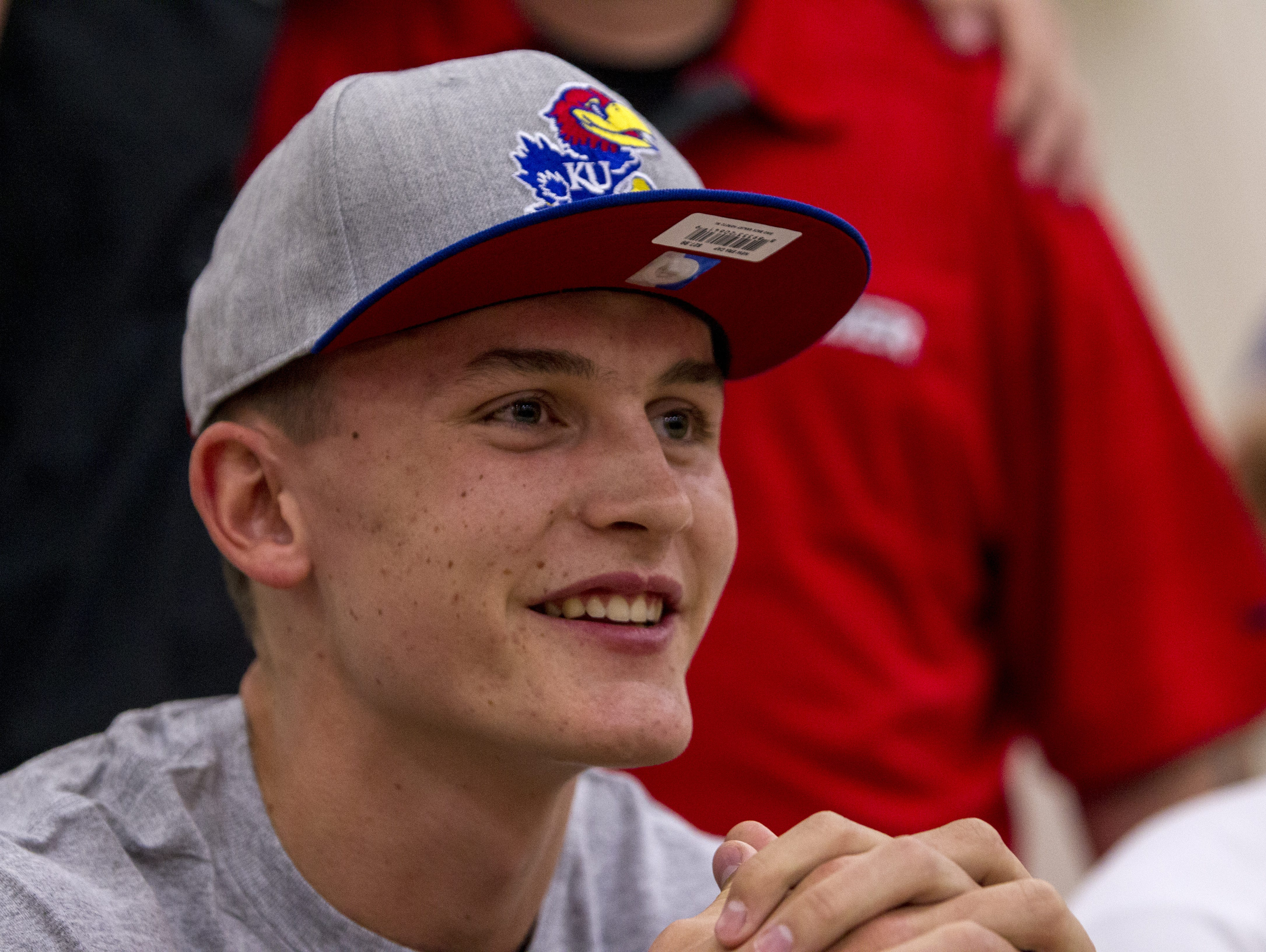 Gilbert Christian's Mitch Lightfoot announces his commitment to Kansas on Saturday, Oct. 24, 2015 at Glendale Community College in Glendale, AZ. Lightfoot is the state's top basketball prospect in the class of 2016.