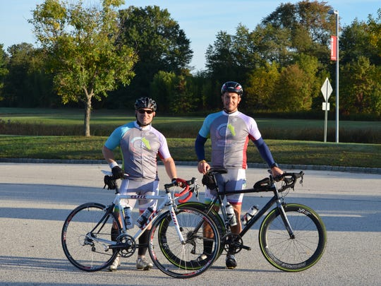 Dennis Morgan, vice president of education and adult day and employment services, and Eric Eberman, vice president of acute behavioral health at Bancroft, gear up to get fit at Bike for Bancroft in the fall.