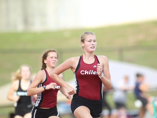 Chiles freshmen Lawton Campbell and Emily Culley make a push to qualify for state in the 3200, which they both did. Campbell took second as Chiles went 2-3-4.