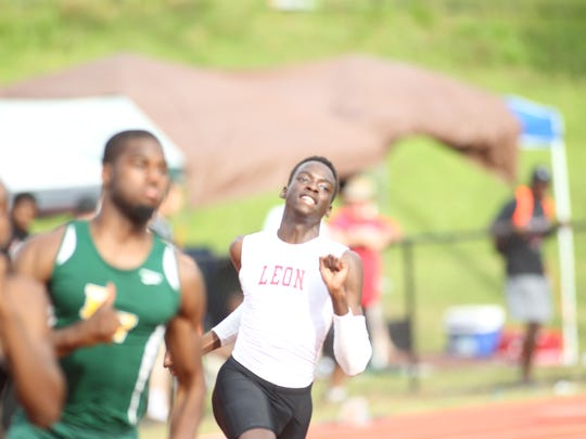 Leon's Leander Forbes runs the 200 in last week's region meet. Forbes is a favorite in the 400 at this week's state meet.