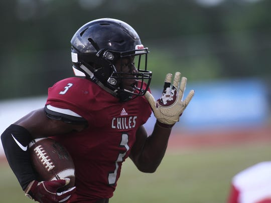 Chiles rising senior Kris Reed returned a punt 85 yards for a touchdown and caught a 23-yard score in a 33-3 win over Florida High on Thursday in a spring game.