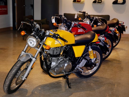 These Royal Enfield Continental G2 cafe racer bikes have a 1960s design.