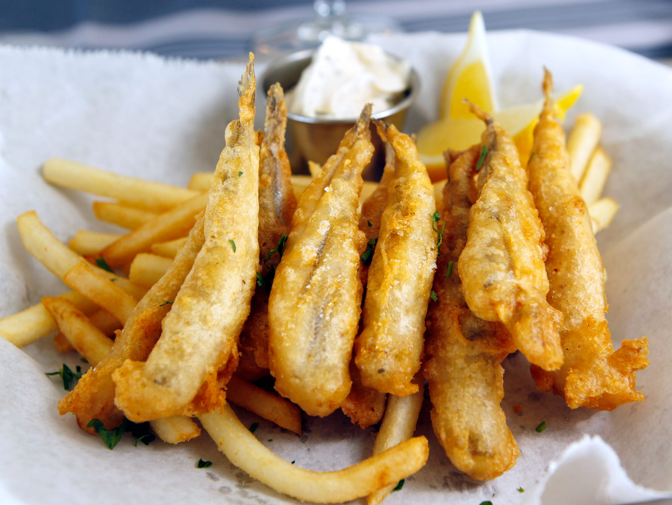 Smelt with fries, a happy hour special at Harbor House,